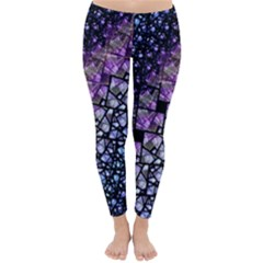 Dusk Blue and Purple Fractal Winter Leggings