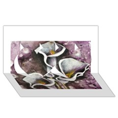 Gala Lilies Twin Hearts 3d Greeting Card (8x4)