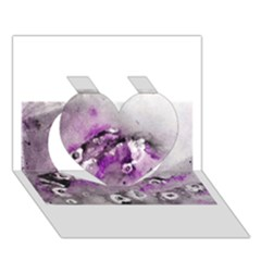 Shades of Purple Heart 3D Greeting Card (7x5)
