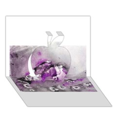 Shades of Purple Apple 3D Greeting Card (7x5)