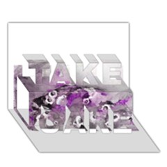 Shades Of Purple Take Care 3d Greeting Card (7x5)