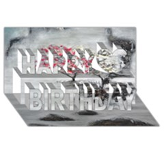 Mountains, Trees and Fog Happy Birthday 3D Greeting Card (8x4)