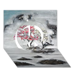 Mountains, Trees And Fog Peace Sign 3d Greeting Card (7x5)