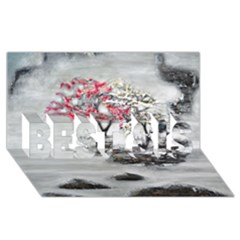 Mountains, Trees And Fog Best Sis 3d Greeting Card (8x4)