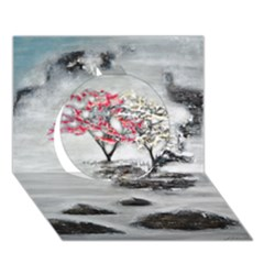 Mountains, Trees And Fog Circle 3d Greeting Card (7x5)