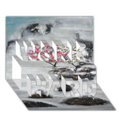 Mountains, Trees and Fog WORK HARD 3D Greeting Card (7x5)