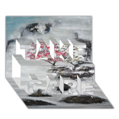 Mountains, Trees and Fog TAKE CARE 3D Greeting Card (7x5)