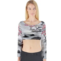 Mountains, Trees And Fog Long Sleeve Crop Top
