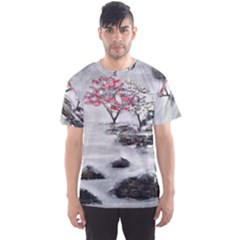 Mountains, Trees And Fog Men s Sport Mesh Tees