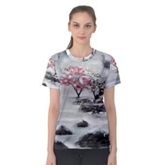 Mountains, Trees And Fog Women s Sport Mesh Tees
