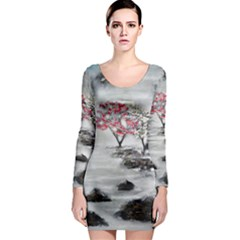 Mountains, Trees and Fog Long Sleeve Bodycon Dresses