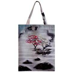 Mountains, Trees and Fog Zipper Classic Tote Bags