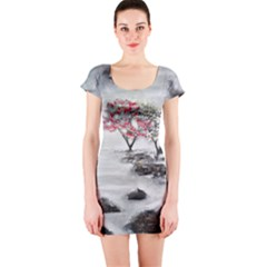 Mountains, Trees and Fog Short Sleeve Bodycon Dresses