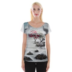Mountains, Trees And Fog Women s Cap Sleeve Top