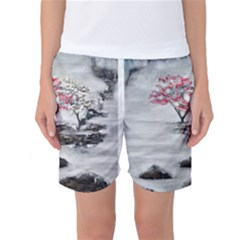 Mountains, Trees and Fog Women s Basketball Shorts