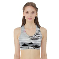 Mountains, Trees And Fog Women s Sports Bra With Border