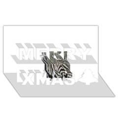 Unique Zebra Design Merry Xmas 3D Greeting Card (8x4)