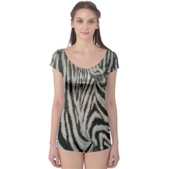 Unique Zebra Design Short Sleeve Leotard