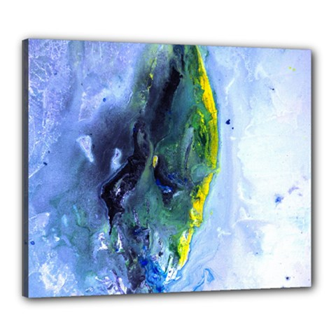 Bright Yellow And Blue Abstract Canvas 24  X 20