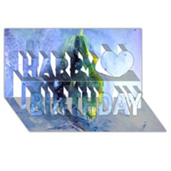 Bright Yellow and Blue Abstract Happy Birthday 3D Greeting Card (8x4)