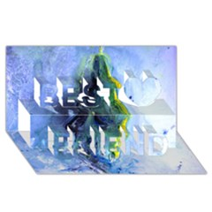 Bright Yellow And Blue Abstract Best Friends 3d Greeting Card (8x4)