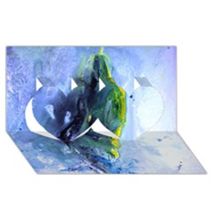 Bright Yellow and Blue Abstract Twin Hearts 3D Greeting Card (8x4)