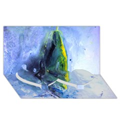 Bright Yellow And Blue Abstract Twin Heart Bottom 3d Greeting Card (8x4)