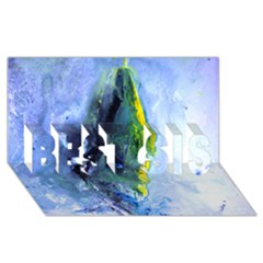 Bright Yellow And Blue Abstract Best Sis 3d Greeting Card (8x4)