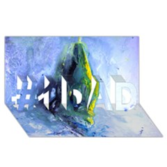 Bright Yellow and Blue Abstract #1 DAD 3D Greeting Card (8x4)
