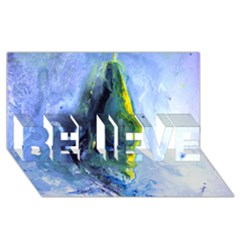 Bright Yellow and Blue Abstract BELIEVE 3D Greeting Card (8x4)