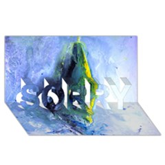 Bright Yellow And Blue Abstract Sorry 3d Greeting Card (8x4)