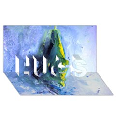 Bright Yellow and Blue Abstract HUGS 3D Greeting Card (8x4)