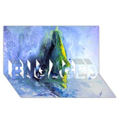 Bright Yellow and Blue Abstract ENGAGED 3D Greeting Card (8x4)