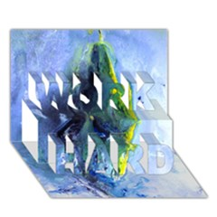Bright Yellow and Blue Abstract WORK HARD 3D Greeting Card (7x5)