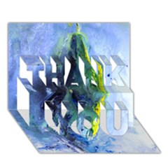 Bright Yellow and Blue Abstract THANK YOU 3D Greeting Card (7x5)