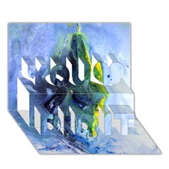Bright Yellow And Blue Abstract You Did It 3d Greeting Card (7x5)