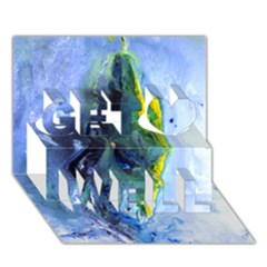 Bright Yellow And Blue Abstract Get Well 3d Greeting Card (7x5)