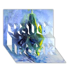 Bright Yellow And Blue Abstract You Rock 3d Greeting Card (7x5)