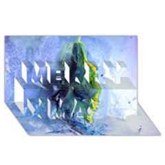 Bright Yellow and Blue Abstract Merry Xmas 3D Greeting Card (8x4)