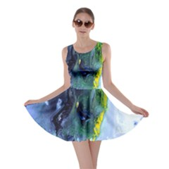 Bright Yellow and Blue Abstract Skater Dresses