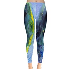 Bright Yellow and Blue Abstract Women s Leggings
