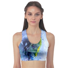 Bright Yellow and Blue Abstract Sports Bra