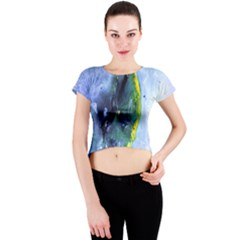 Bright Yellow And Blue Abstract Crew Neck Crop Top