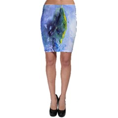 Bright Yellow and Blue Abstract Bodycon Skirts