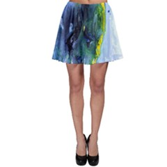 Bright Yellow and Blue Abstract Skater Skirts