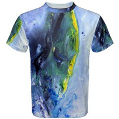 Bright Yellow and Blue Abstract Men s Cotton Tees