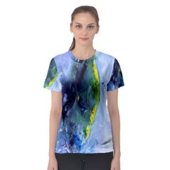 Bright Yellow and Blue Abstract Women s Sport Mesh Tees