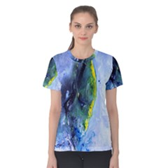 Bright Yellow And Blue Abstract Women s Cotton Tees