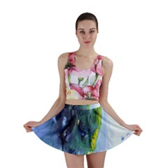 Bright Yellow and Blue Abstract Mini Skirts