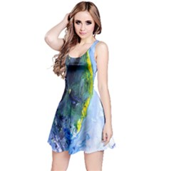 Bright Yellow and Blue Abstract Reversible Sleeveless Dresses